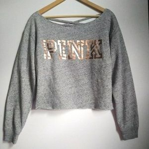 PINK Victoria's Secret Cropped Gray Sweatshirt XS